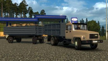 Газ 3307-33081 v4.0 + Прицеп для Газ и Зил для Euro Truck Simulator 2