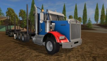 kenworth t800b and t800h + logging trailer для Farming Simulator 2017