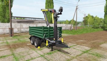 Fliegl timber trailer with crane v 1.0 для Farming Simulator 2017