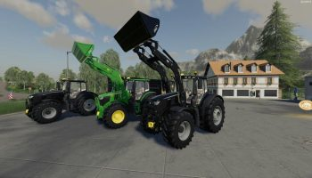 John Deere 6R Black + Green Edition v1.0.0.4 FS19 для Farming Simulator 2019