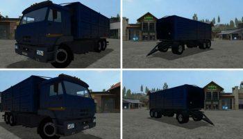 КамАЗ 65221 + прицеп-зерновоз для Farming Simulator 2017